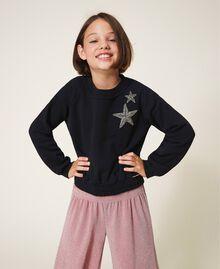 Sweatshirt mit Sternstickerei Schwarz Kind 202GJ261B-01