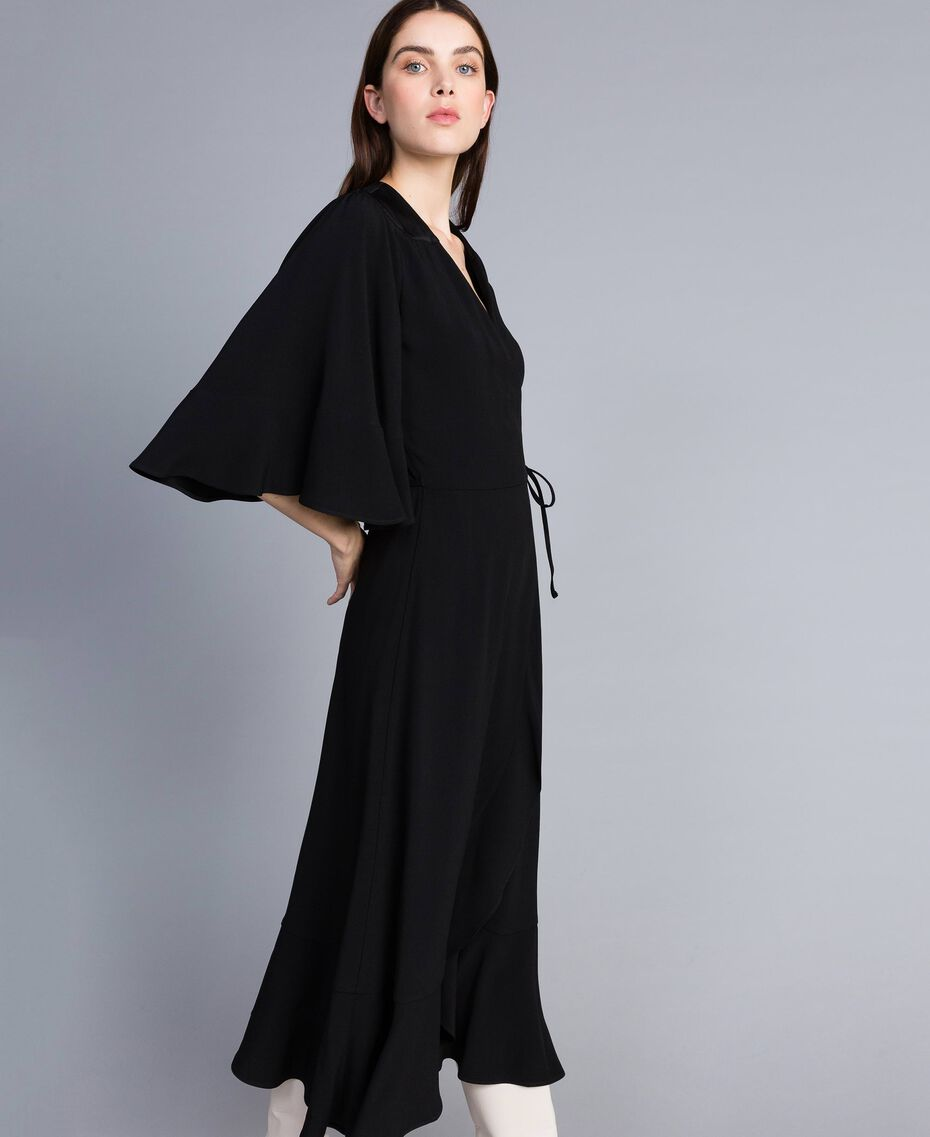 Envers satin mid-length dress Black Woman TA824B-02