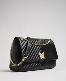 Grand sac à bandoulière en cuir matelassé Noir Femme 192TA7101-03