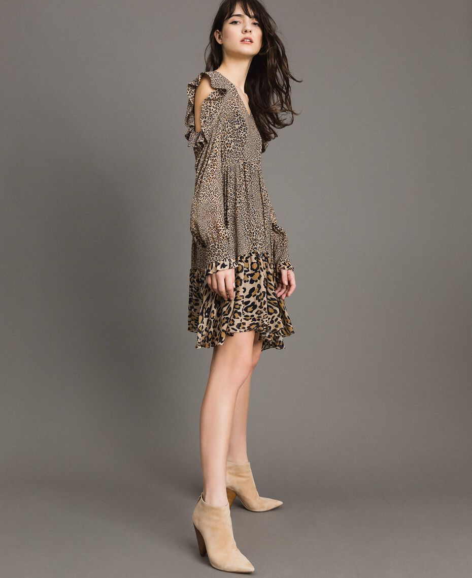 Animal print georgette dress Mixed Animal Print Woman 191TP2722-02