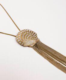 Collier réglable avec coquillage et pompons Or «Laiton Vieilli Cuivré» Femme 201TO530B-02