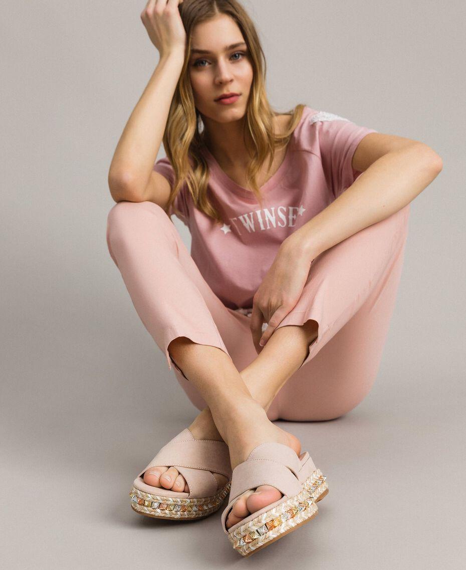 """Sandalias de ante con tachuelas Rosa """"Surreal Pink"""" Mujer 191MCP136-0S"""
