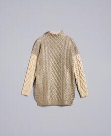 Maxipullover mit Metallic-Veredelung Zweifarbig Bronze / Gold Frau TA831C-0S