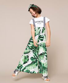 Tropical print jumpsuit/trousers Green Polka Dot Tropical Print / Vichy Child 201GJ2301-01