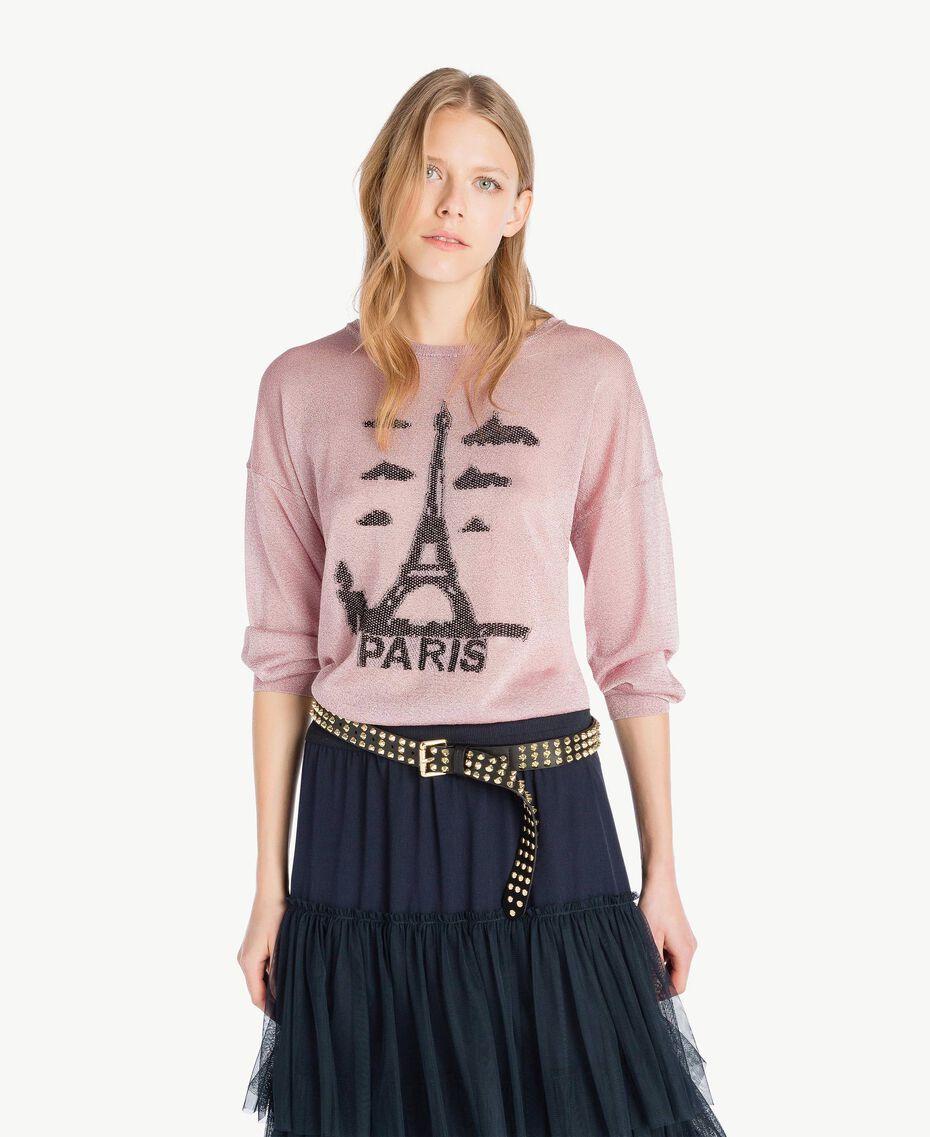 Pullover aus Lurex Lurex Hortensienrosa Frau PS83Y3-01