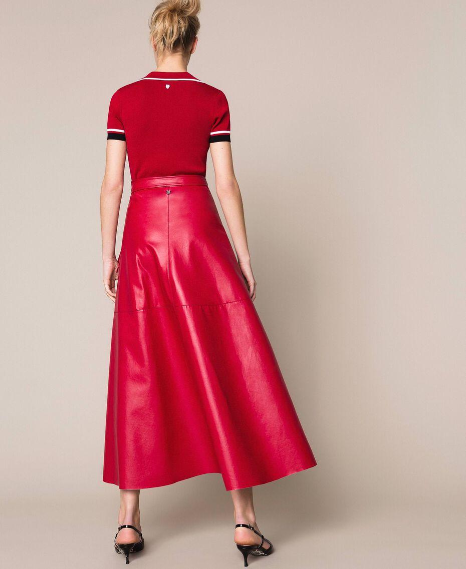 Long overlapping skirt Venetian Red Woman 201MP2042-03
