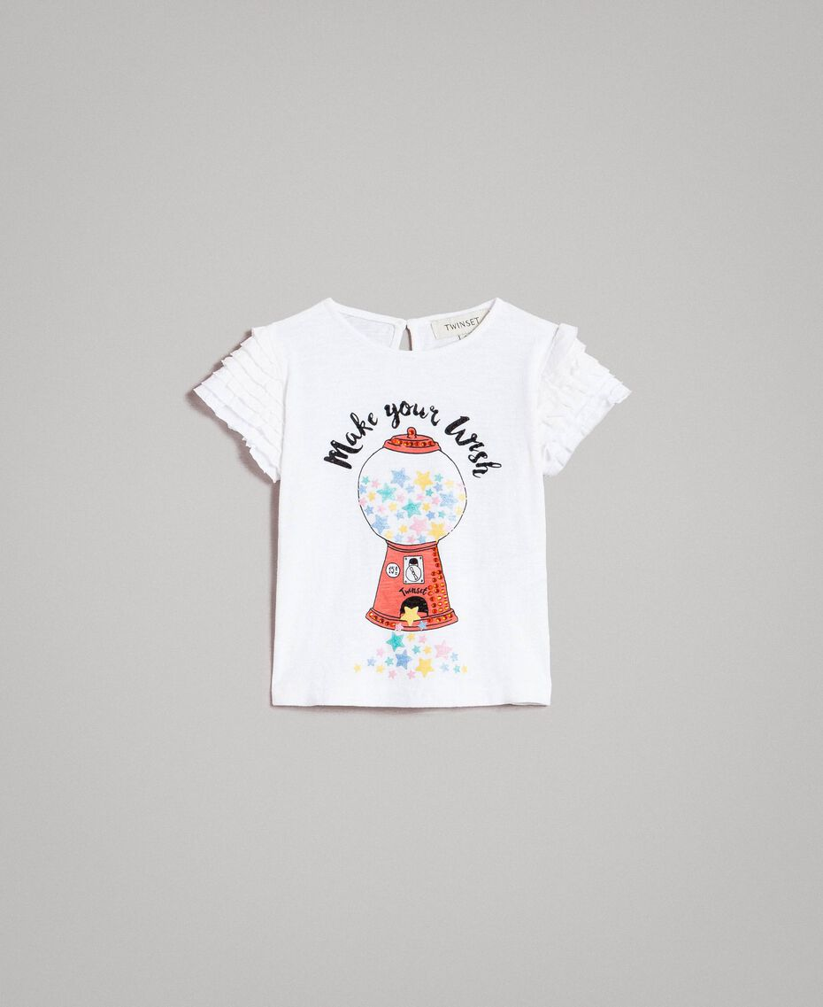 Jersey T-shirt with print and rhinestones White Child 191GB2322-01