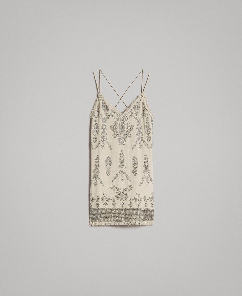 Robe en lin ornée de perles et de sequins Noir Femme 191TT2063-0S