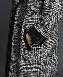 Cappotto in panno principe di Galles Jacquard Neve / Nero Donna 192TT2101-05