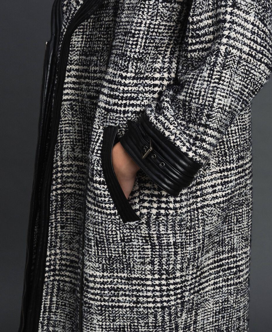 Manteau en drap Prince de Galles Jacquard Neige / Noir Femme 192TT2101-05