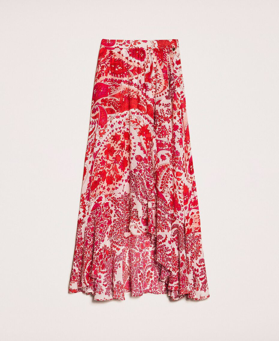 "Paisley print georgette skirt ""Lava"" Red Cashmere Print/ ""Blossom"" Pink Woman 201TP2535-0S"
