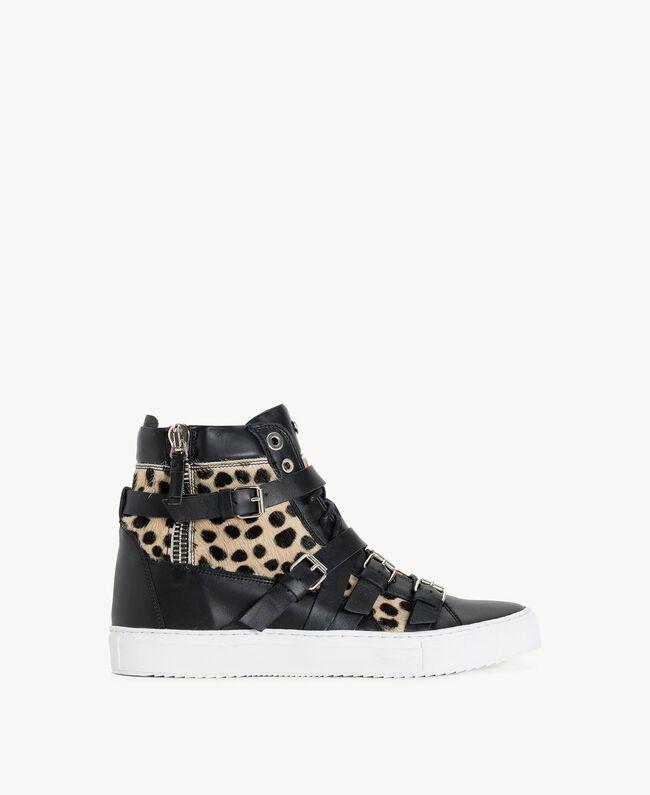 TWINSET Sneaker mit Animalier-Dessin Schwarz Frau CS8PNQ-01