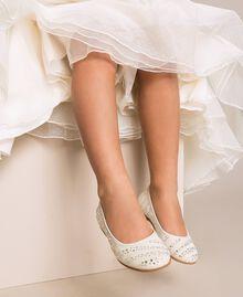 Bailarinas de piel de ante con estrás Blanco crema Niño 201GCJ094-0S