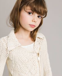 Crochet knitted biker jacket Pale Cream Child 191GJ3QK0-04