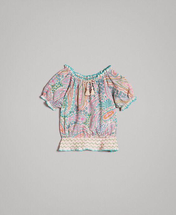 Viskose-Bluse mit Paisley-Aufdruck