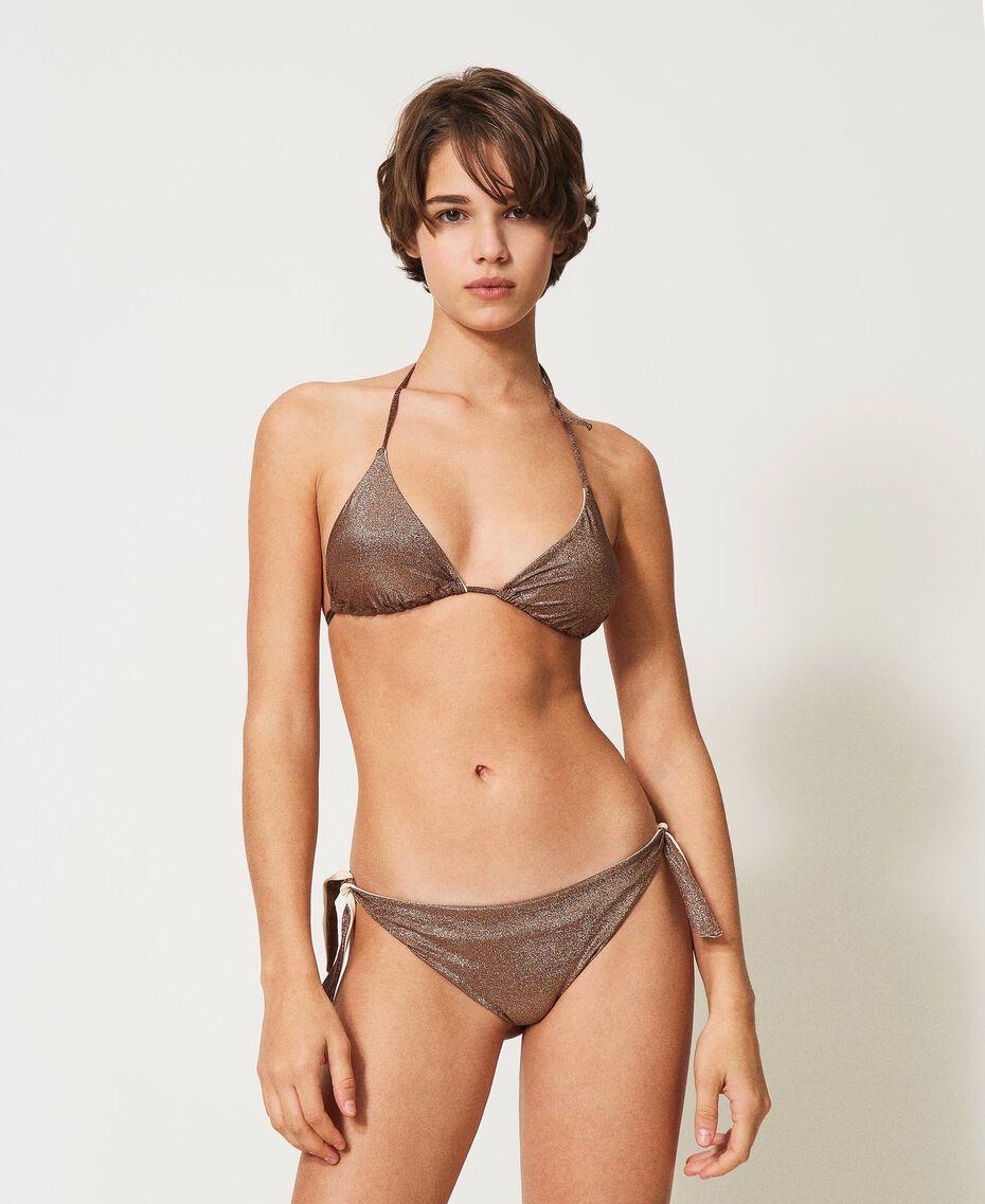 "Bikinitanga aus Lurex mit Schleifen ""Moka Lurex""-Braun Frau 211LMML88-01"