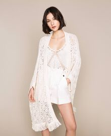 Cardigan poncho en crochet avec franges Blanc Antique White Femme 201TT3101-02