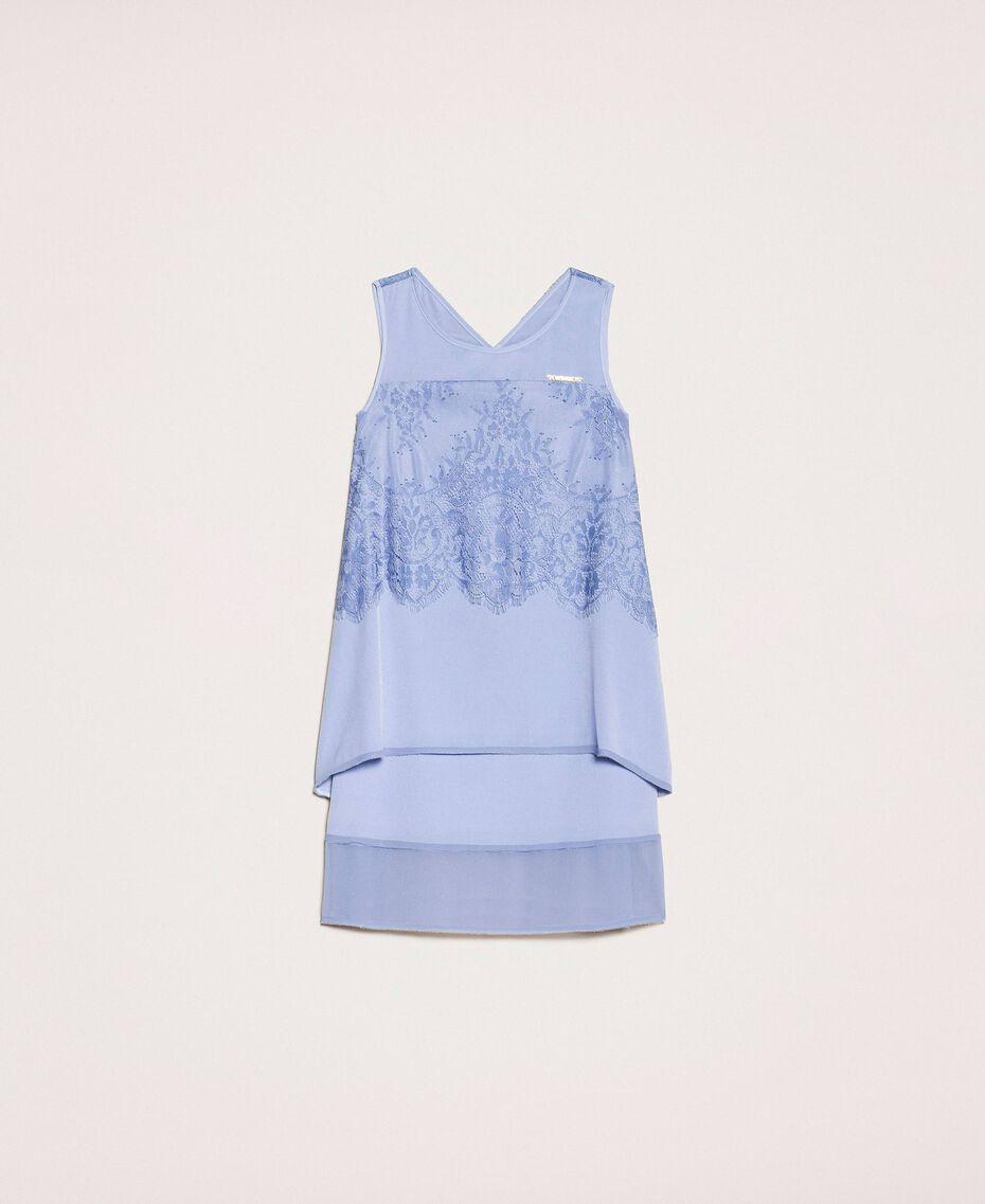 """Kleid aus Crêpe de Chine und Spitze Dunkles """"Ice""""-Blau Kind 201GJ2Q30-0S"""