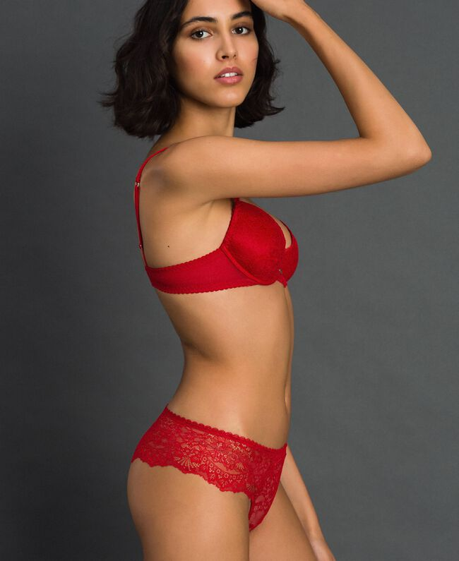 Slip brasiliana in pizzo Rosso Ardente Donna 192LL6C77-01
