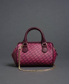 Mini-Bauletto-Tasche aus bedrucktem Lederimitat Schmetterling-Blumen-Print Rote-Bete-Rot Frau 192TA7018-03