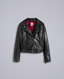 Jacke aus Lederimitat mit Nieten Schwarz Frau YA82BF-0S