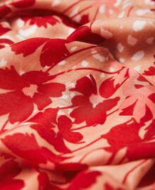 """Printed stole with fringes Peach / """"Cherry"""" Red Flowers Animal Print Woman 202TA4407-03"""