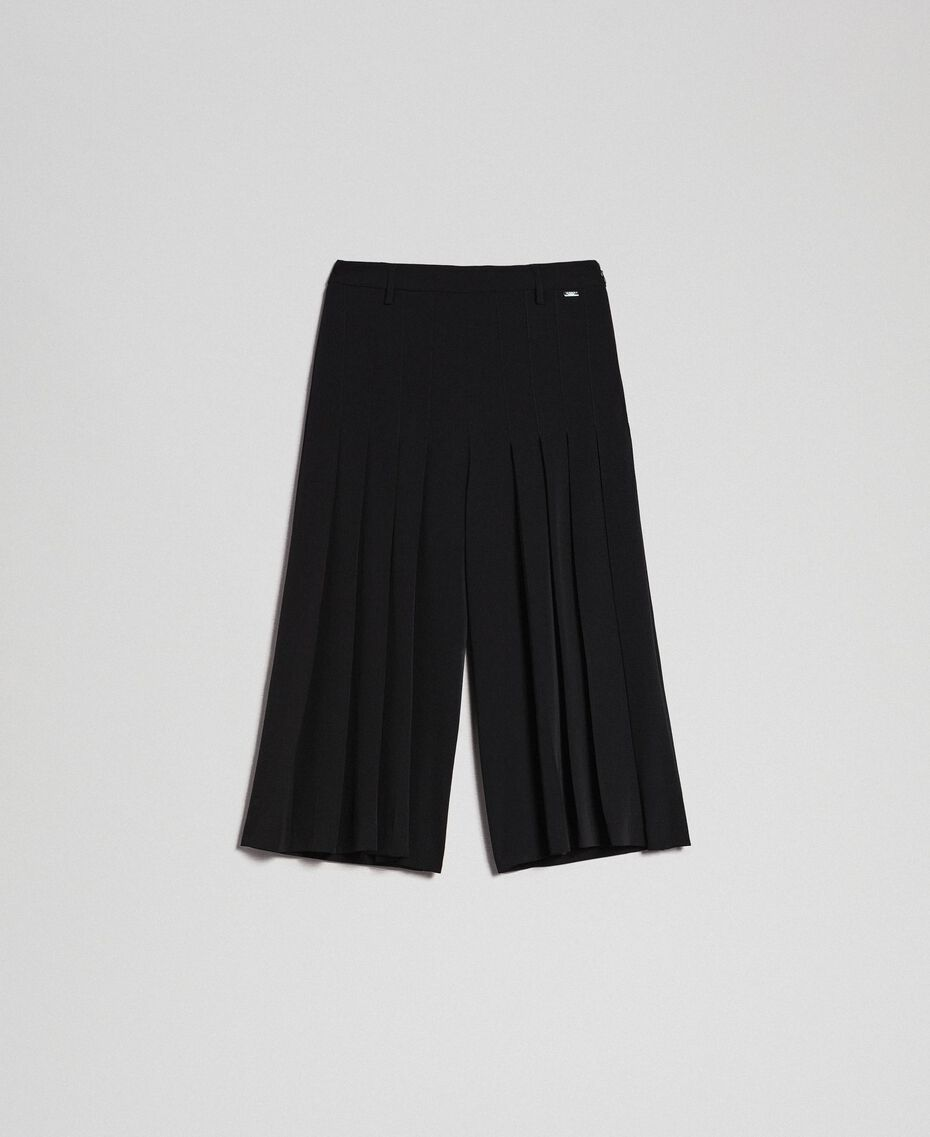 Trouser-skirt with pleats and logo Black Woman 192ST2164-0S