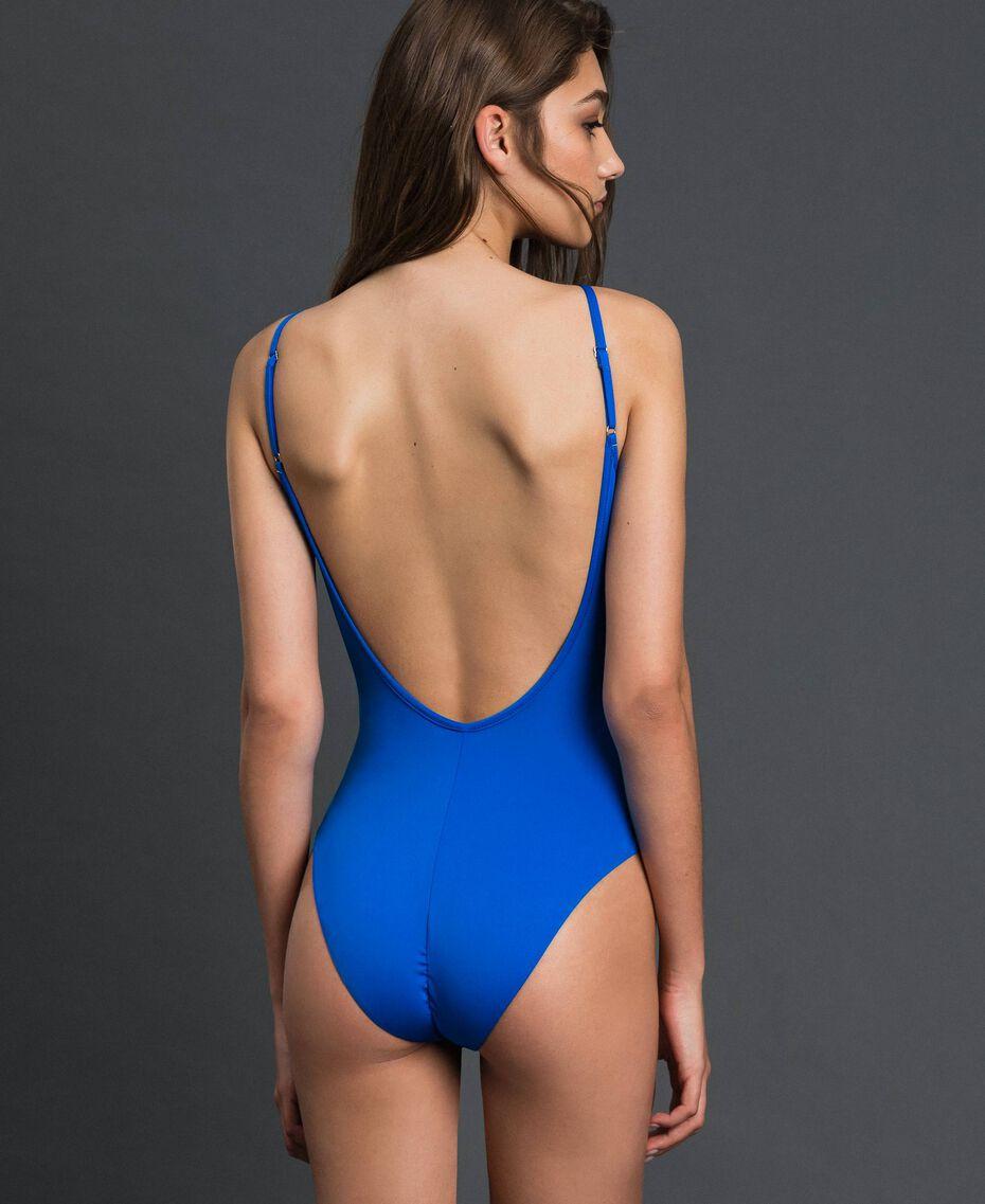 One-piece swimsuit with shoulder straps Fluorescent Orange / Fluorescent Blue Woman 191TQM025-05