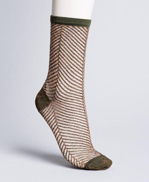Chaussettes lurex avec motif à chevrons
