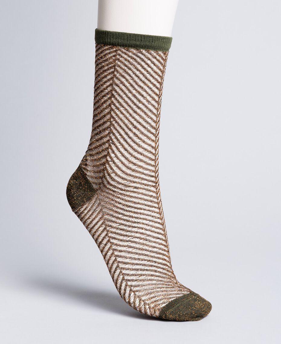 Chaussettes lurex avec motif à chevrons Vert Forêt Femme OA8T3C-01
