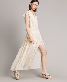 "Crepon long dress ""Milkway"" Beige Woman 191LB21HH-02"