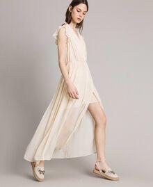 """Robe longue en crépon Beige """"Voie Lactée"""" Femme 191LB21HH-02"""