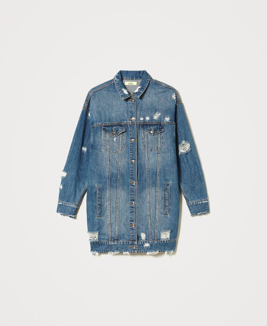 Oversized denim jacket Light Denim Woman 211MT2571-0S