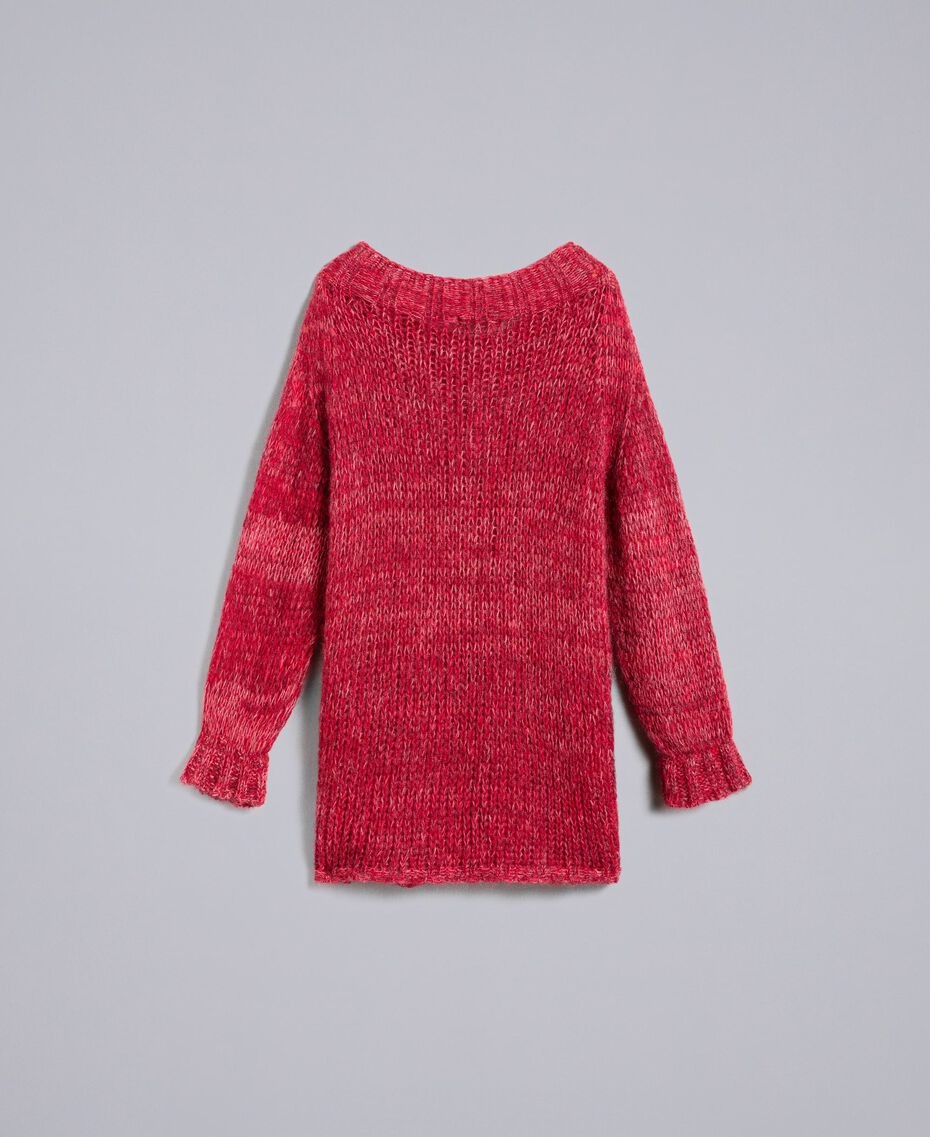 """Maxi mohair jumper """"Poppy"""" Red Mouliné Woman PA838A-0S"""