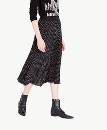 Medium length polka dot skirt Black Polka Dot Print / Ivory Woman PS82L2-02