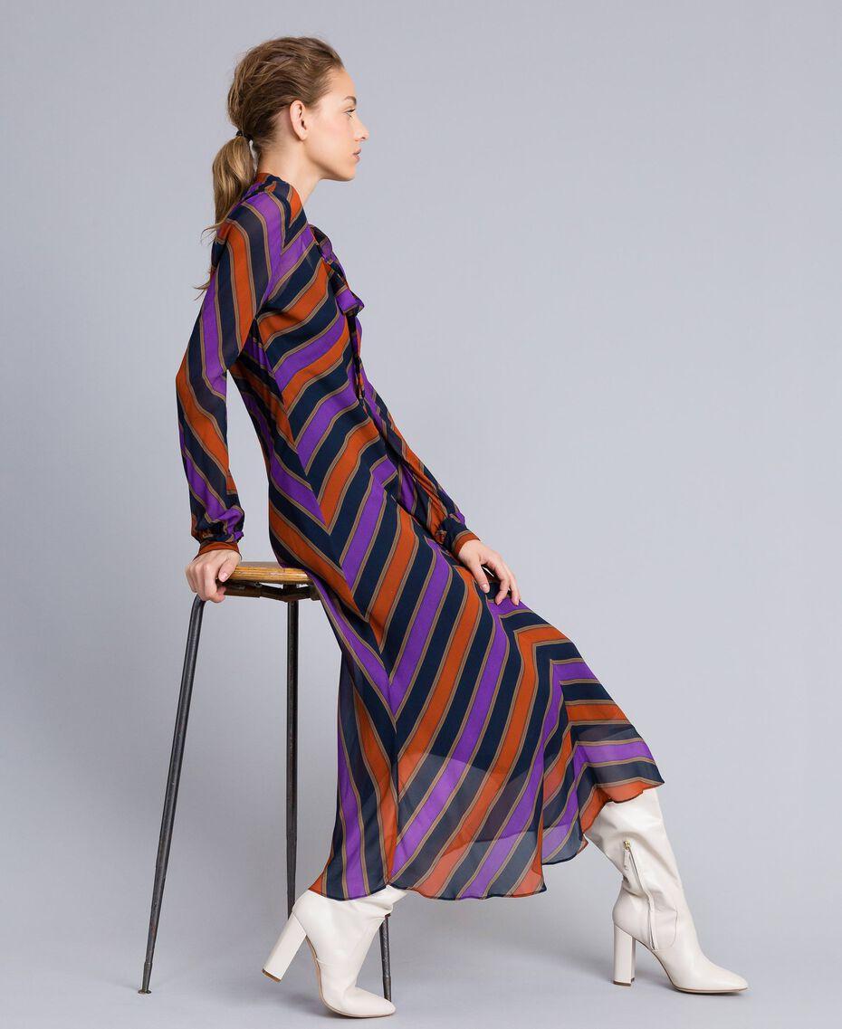 Long striped georgette dress Multicolour Stripe Print Woman TA8294-0T