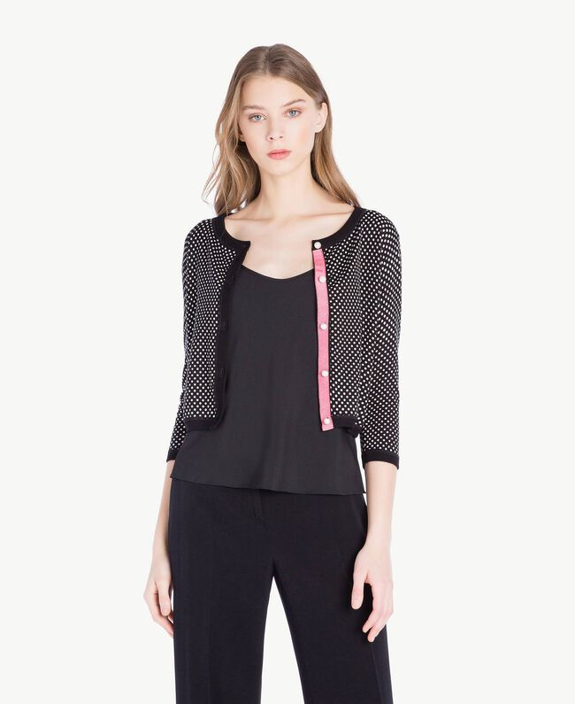 Pearl mandarin collar top Polka Dot Print Woman PS83LD-01