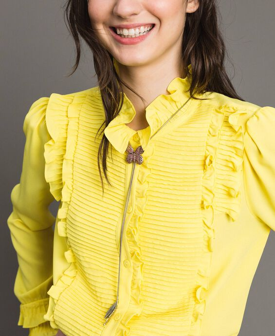 Silk-mix frills shirt