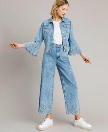 Blouson slim en jean avec broderie anglaise Bleu Denim Femme 191MP2430-01