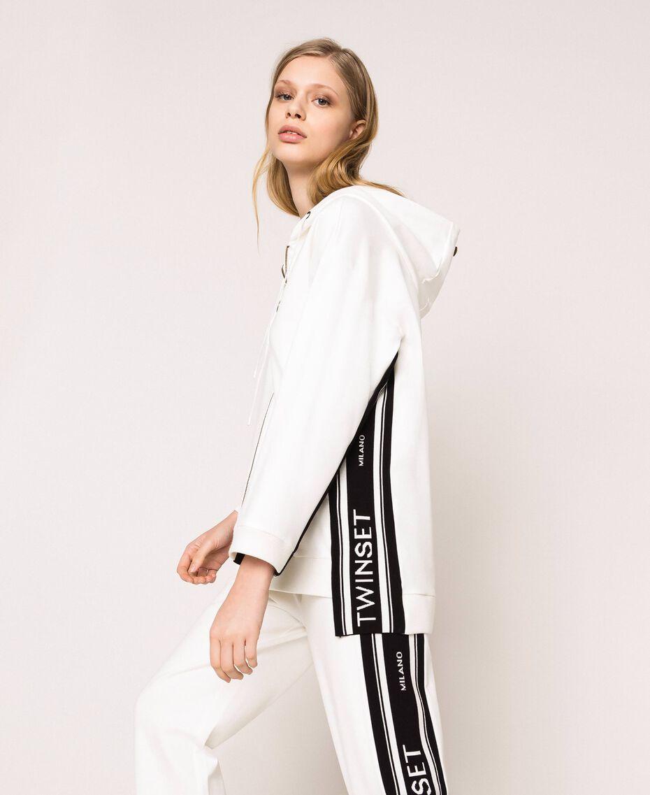Maxi sweatshirt with jacquard logo Ivory Woman 201TP2070-02