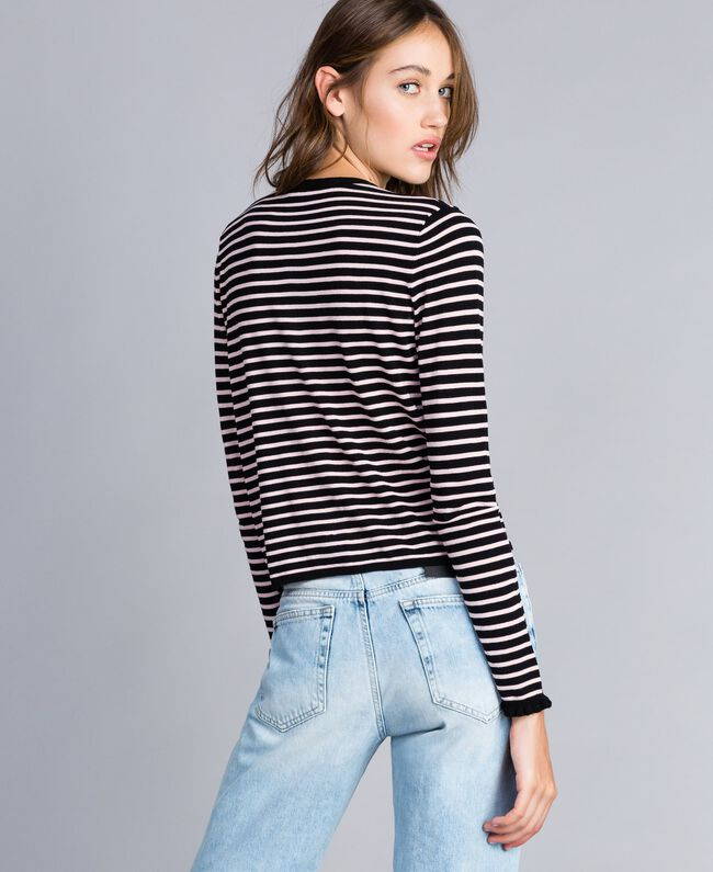 """Two-tone striped cardigan with ruches Black / """"Cloud Pink Stripe Woman JA83BR-03"""