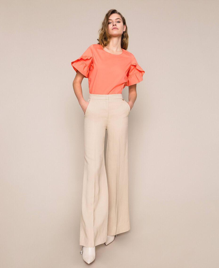 Linen blend trousers Nougat Beige Woman 201TT2216-01