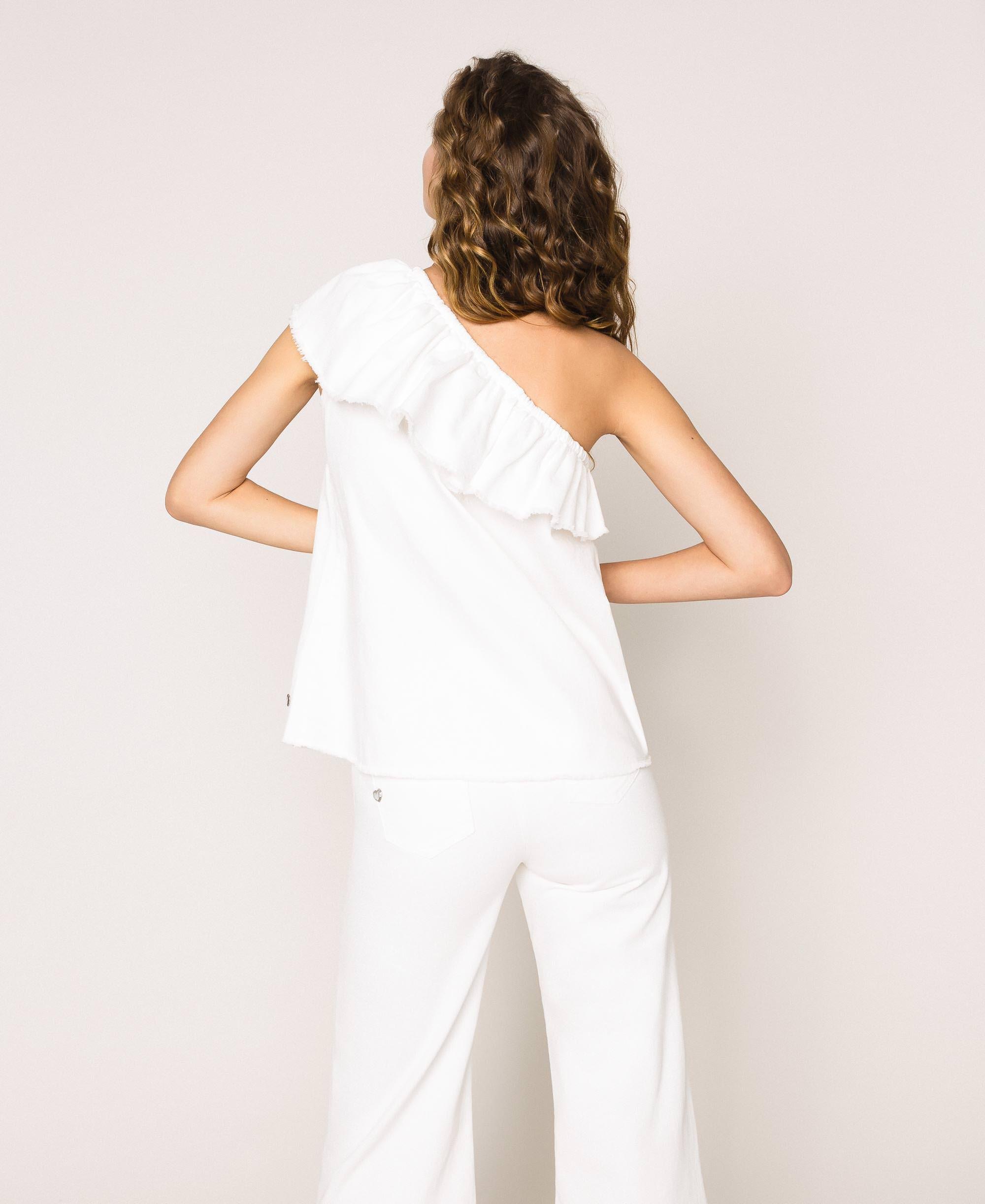 Top en jean blanc avec volant Femme, Blanc