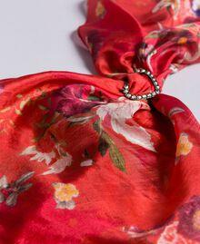 "Foulard aus Seide mit Blumenprint Print ""Red Garden"" Frau AA8P14-02"