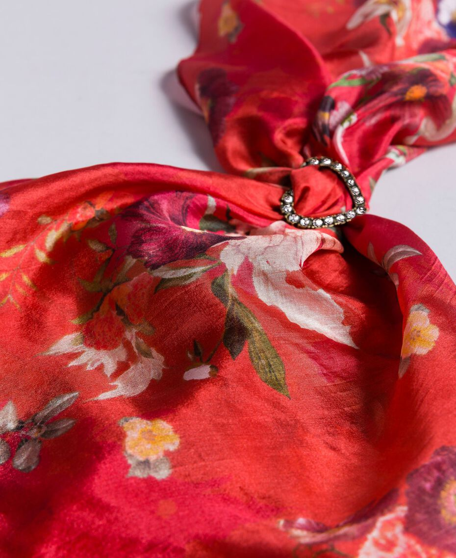 Foulard in seta a stampa floreale Stampa Red Garden Donna AA8P14-02