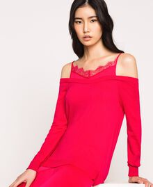 Knit dress with slip effect satin Black Woman 201TP3070-05