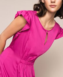 Poplin dress with ruffles Flirty Rose Print Woman 201LB2BDD-05