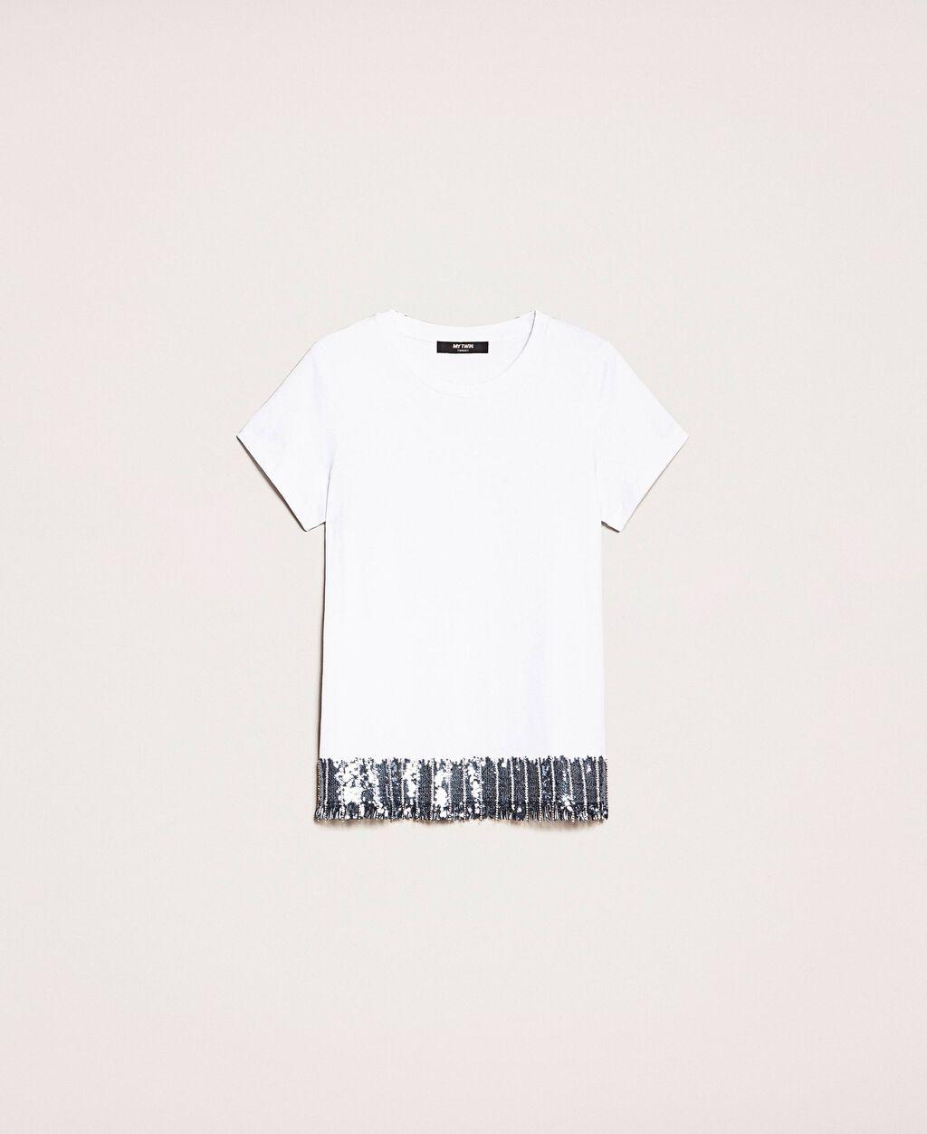 T-Shirt mit Pailletten und Strass