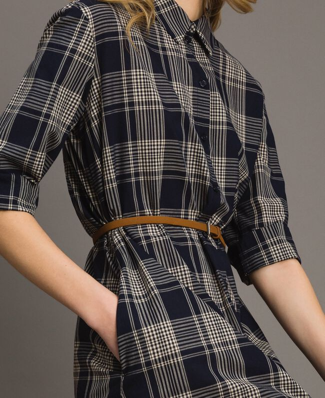 Check dress with belt Blue Shadow Check Jacquard Woman 191ST2132-04