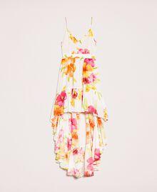 Vestido asimétrico de georgette de flores Estampado Hibiscus Nieve Mujer 201TT2493-0S
